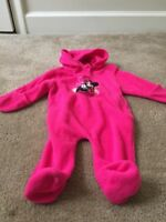 Minnie Mouse Disney Baby Fleece Hooded Footed One-Piece BodySuit Sz 6/9M Pink