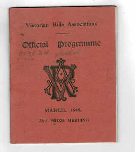 Orig 1948 Victorian Rifle Association Prize Meeting Programme, Williamstown Vic