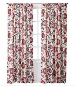 "(1) ONE Mudhut Suzani Vine Curtain Panel 55"" x 84"" Red Multi Color WINDOW PANEL"