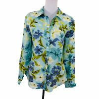 Tommy Bahama Relax Blue Floral Button Front Long Sleeve Shirt Blouse Womens XL