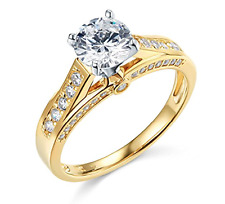 2.65 Ct Round Cut Engagement Wedding Promise Ring Solid Real 14K Yellow Gold