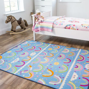 Fun Colourful Rainbow Rug Childrens Kids Mats Beautiful Blue Storytime Bed Mats