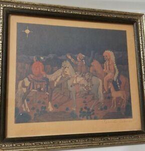 Pablita Velarde 2 THE VISTATION, NATIVITY  Paintings Pueblo Navajo Plains Chiefs