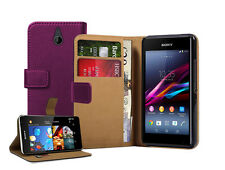 Wallet PURPLE Leather case cover for Sony Xperia E1 experia D2004 / D2005