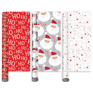 3 x 2m Santa Star Ho Ho Ho Christmas Children Kid Foil Gift Roll Wrap....or Tags