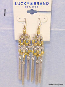Lucky Brand Statement Fringe Earrings 2 Tone Dangle NEW $39 FREE SHIPPING in USA