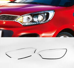 Chrome Head Lamp Garnish Cover Trim LH RH For 12 14 Kia Rio : Pride 5d Hatchback