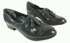 Salt and pepper black leather tasselled shoes uk 6 Eu 39