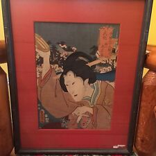 Japanese WOODBLOCK - TOYOKUNI III / KUNISADA - Kabuki Actors mid 1800s Female