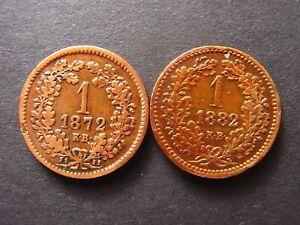 Osterreich Ungarn 1 Kreuzer 1872 + 1882 KB ss-