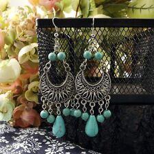 Pendants Fit Gift Women 7cm Long Tibetan Silver Vintage Earrings Moon Turquoise