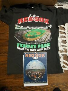 VINTAGE REDSOX Fenway T Shirt & 1969 Boston Red Sox Yearbook RARE Lot