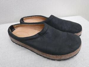 Women's HAFLINGER GERMANY 9 40 Black Leather Cork Slides Mules Clogs Loafers