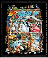 "Elizabeth's Studio Birdwatching 100% cotton fabric by the panel 35"" X 43"""