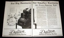 1920 OLD MAGAZINE PRINT AD, DALTON, ADDING-CALCULATING MACHINES, FOR BUSINESS!