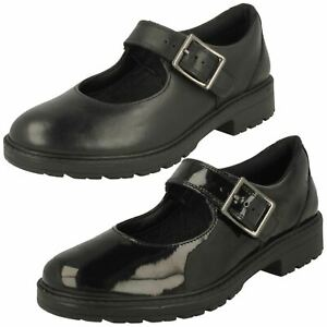 Girls Clarks Mary Jane Style Buckle Leather Patent Shoes Loxham Walk Y