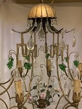 Antique French Chinoiserie Tole Crystal Chandelier Pagoda Huge Oriental