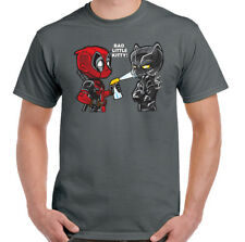DEADPOOL T-SHIRT Mens The Black Panther Bad Little Kitty Mens Funny Batman Comic