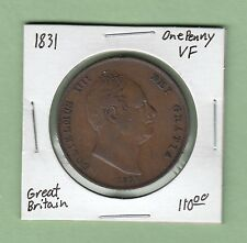 1831 Great Britain One Penny Coin - William IV - VF