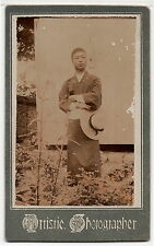 1890s JAPAN ANTIQUE ORIGINAL PHOTO Japanese Man Kimono Hut vtg old aa9