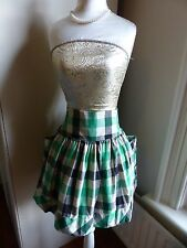 Pepa Loves size 3 (UK12) black, green, grey and beige check short flared skirt