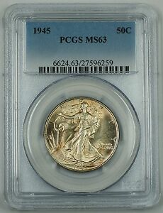 1945 Walking Liberty Silver Half Dollar, PCGS MS-63, Lightly Toned, New Holder