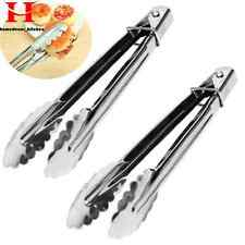 Hot Kitchen Cooking Salad Serving Tongs Stainless Steel Handle Utensil Tools