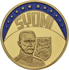 EUROPE ECU SERIES FINLAND SUOMI GILDED PROOF LIKE GILT MEDAL 1997 #ME238