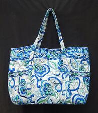 Vera Bradley MED WHITE SUPER TOTE Travel Carry On Bag EUC
