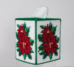 Vintage Tissue Box-Cover HandMade Needlepoint Red Poinsettia + 16Drink Coasters
