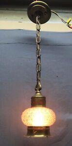 Vtg Brass Pendant Ceiling Light Fixture Arts Crafts Hobnail Glass Globe 76-20E