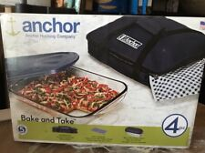 New listing Anchor Hocking 4 Pc 3 qt. Portable Rectangle Baking Dish w/ Lid & Insulated Tote