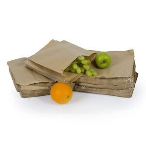 """100x Brown Kraft Flat Paper Bags Brown Food Grocery Sandwich Bags - 8"""" x 8"""""""