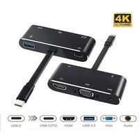 4K Type-C to USB 3.0/HDMI/VGA/Audio/ Adapter Converter Hub For Laptop Macbook