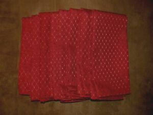"""Set of 8 Polyester Cloth Napkins 17"""" Honeycomb Design Burgundy Red NWOT"""