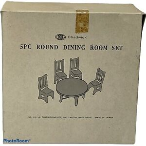 NOS Chadwick Dollhouse Miniature Furniture Accessories 5 Pc Wood Dining Room Set