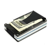 Men Carbon Fiber Credit Card Holder RFID Blocking Slim Wallet Money Clip Purse A