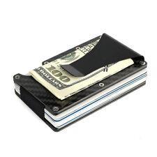 Men's Carbon Fiber Credit Card Holder RFID Blocking Slim Wallet Money Clip Purse