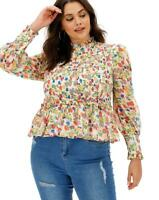 Neon Rose Blouse Top Size XS 8,L 14,16 & 22 Floral Shirred Peplum EW82 Chiffon