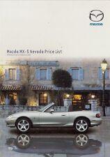 Mazda MX-5 Nevada 2003 UK Market Prices & Options Leaflet Brochure 1.6 1.8