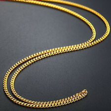 "New Solid Pure 24K Yellow Gold Necklace Woman Fine Curb Link Fashion Chain16.9""L"