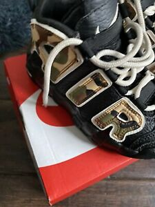 Nike Air More Uptempo Army & Black Leather Size 10.5 Uk Infant