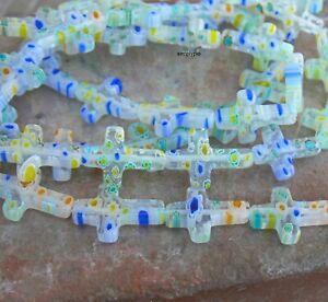 Multi Color Cross Millefiori Glass Beads 12 Pcs
