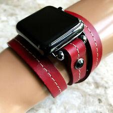 Estilo Vintage Cuero Rojo Correa para Apple 38 40 42 44mm Reloj Todo Serie