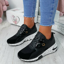 WOMENS LADIES LACE UP SNAKE TRAINERS RUNNING SHOES SPORTS SNEAKERS SHOES SIZE