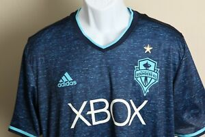 Adidas Men's pacific blue Seattle Sounders FC short sleeve Jersey XL EUC