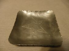 Vintage hammered aluminum dish marked DePonceau