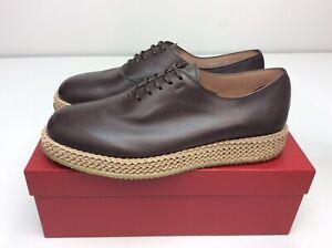 Salvatore Ferragamo Avord Leather Oxfords Hickory Brown 9 M Men's Shoe
