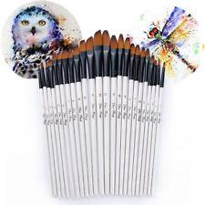 24pcs Nylon Hair Paint Brush Artist Art Watercolor Acrylic Oil Painting Flat&Tip