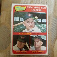 1965 Topps #3 Mantle/Killebrew/Powell AL Home Run Leaders - EX